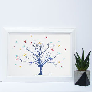 Autumn Tree And Leaves Screen Print