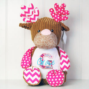 Personalised Monogram Harlequin Deer Soft Toy - toys & games