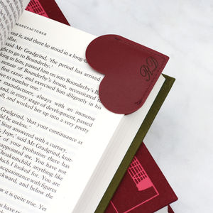 Personalised Leather Heart Page Corner Bookmark - desk accessories
