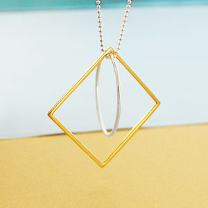 Circle And Square Long Chain Silver And Gold Necklace