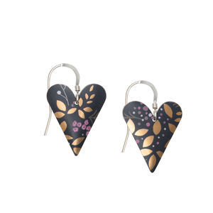 Heart Earrings In Matt Black With Gold Pink Print