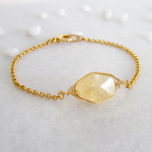 Gold Citrine November Birthstone - bracelets & bangles