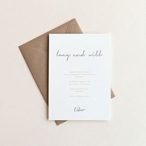 Love Letter Wedding Invitation / Ivory