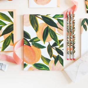 A5 Peach Patterned Lined Notebook - writing