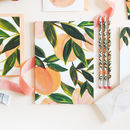 A5 Peach Patterned Lined Notebook