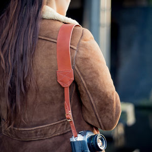 Personalised Retro Leather Camera Strap - 3rd anniversary: leather