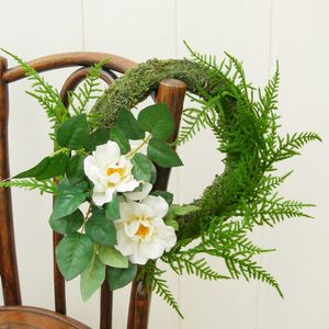 Moss, Rose And Fern Summer Wedding Wreath - grecian wedding styling