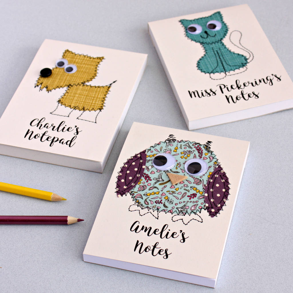Personalised Animal Embroidered Notepad