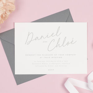Grey And White Minimalist 'Rachel' Wedding Invitations