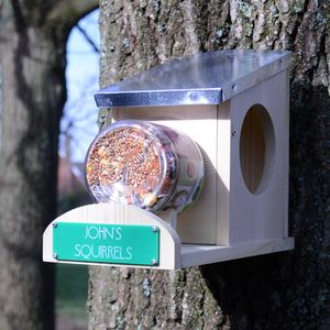 Personalised Squirrel Feeder - 5th anniversary: wood