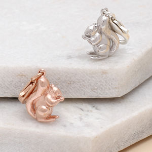 Sterling Silver Or Rose Gold Clip On Squirrel Charms