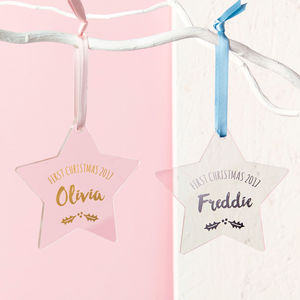 Baby's First Christmas Foiled Star Decoration - baubles & hanging decorations