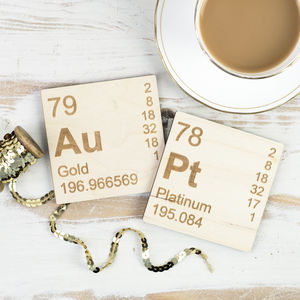 Pair Of Wooden Periodic Table Coasters - dining room