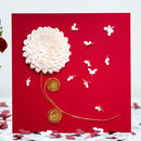 Chrysanthemum Butterfly Card, Flower Birthday Card