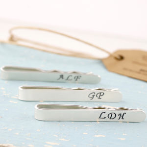 Personalised Silver Wedding Monogram Tie Clip - men's jewellery