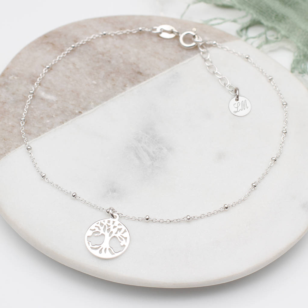 293c9bf81fb69b Shoptagr | Personalised Silver And Gold Tree Of Life Anklet by ...