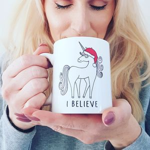 I Believe Unicorn Christmas Mug - dining room