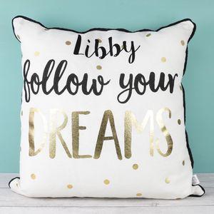Personalised Metallic Quote Cushion - cushions