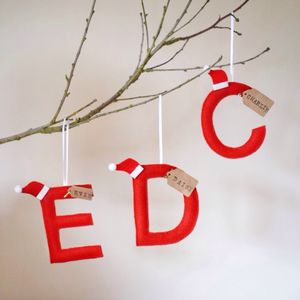 Personalised Felt Letter Hanging Tree Decoration