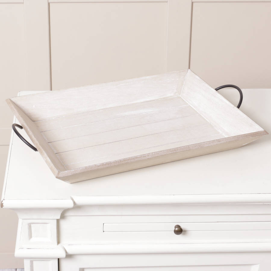 Wooden Tray With Metal Detail Handles By Dibor