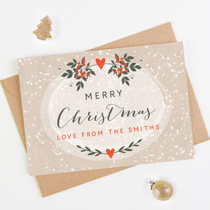 Personalised Christmas Card Berries And Snow