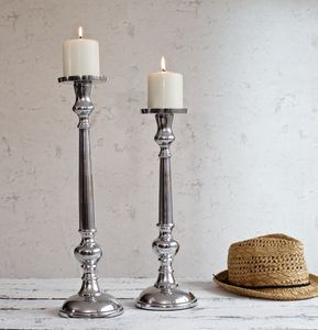 Silver Pillar Candlestick - christmas lighting