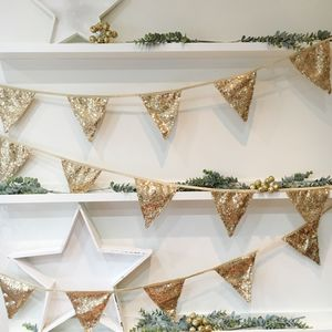 Christmas Antique Gold Sequin Bunting - bunting & garlands