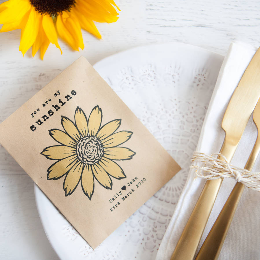 10 personalised sunflower seed packet favours by wedding in a teacup ...