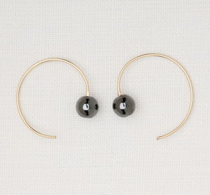 Hematite Circle Wire Earrings - earrings