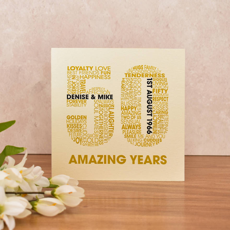 50 Wedding Anniversary | Personalised Golden Wedding Anniversary Card By Mrs L Cards