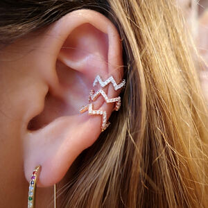 Heartbeat Crystal Ear Cuff
