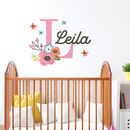 Personalised Name Initial Flowers Wall Sticker