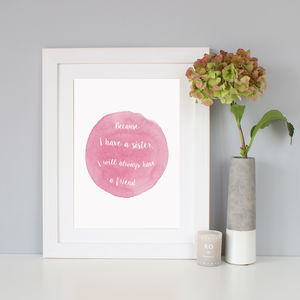 'A Sister' Watercolour Quote Print - posters & prints