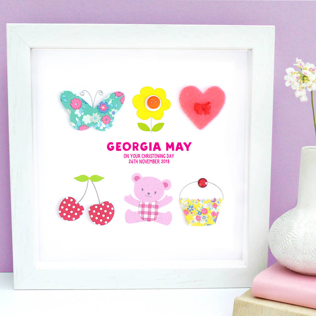 personalised baby girl christening framed art by sweet dimple