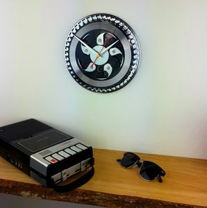 Black And Silver Chainring Bike Clock - bedroom