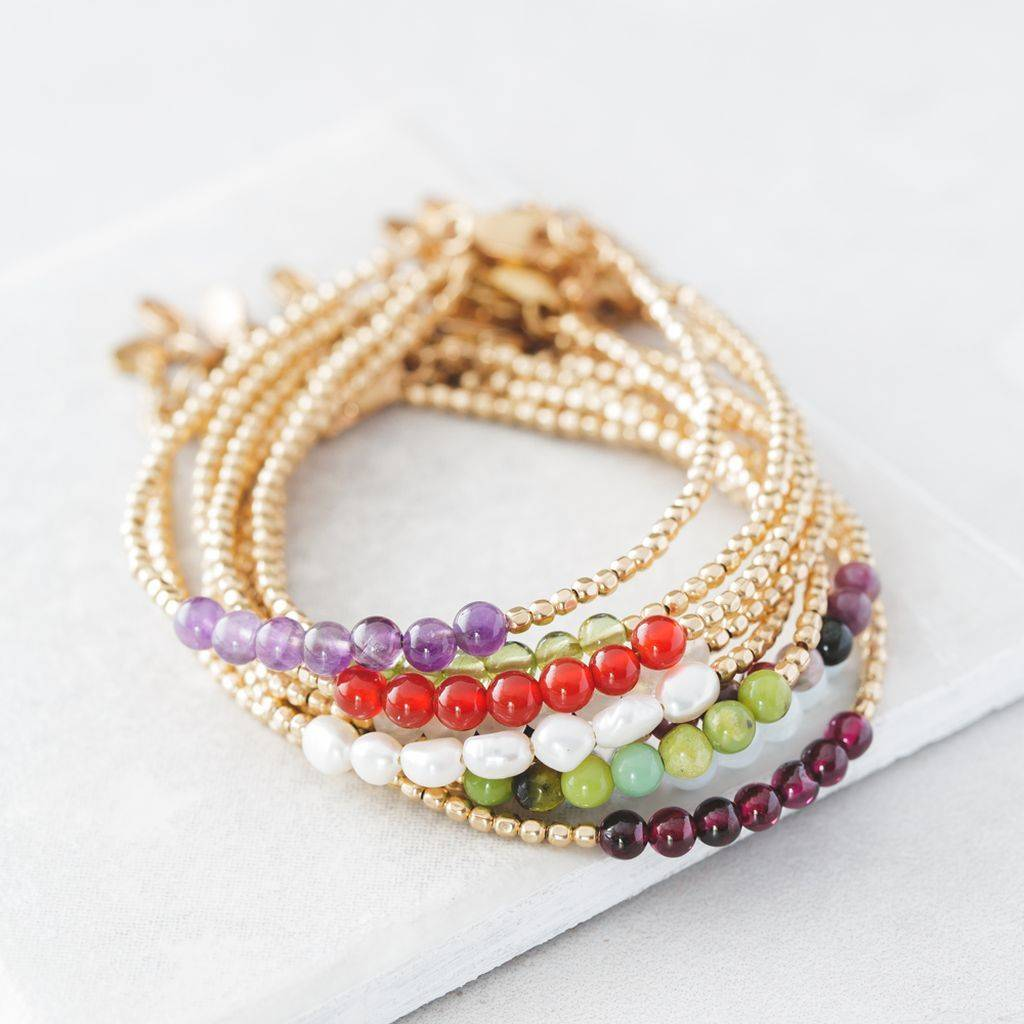 Gold Birthstone Bracelet With Semi Precious Stones