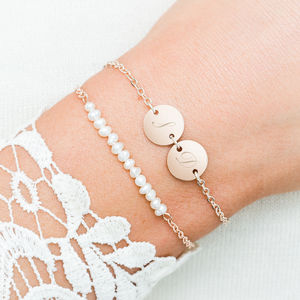 Lilian Pearl And Double Disc Bracelet Set - personalised gifts