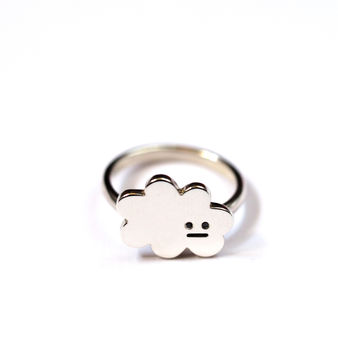 Cloud Ring With Black Diamond Eyes