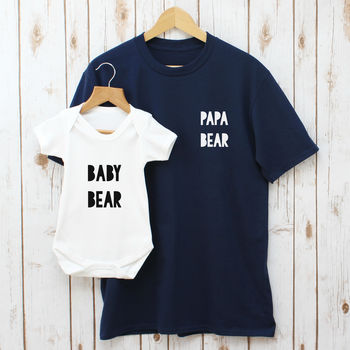 Father's Day Papa Bear Daddy And Baby T Shirt Set