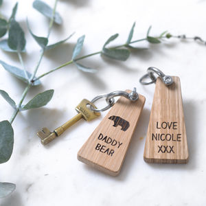 Personalised Daddy Bear Keyring - mens