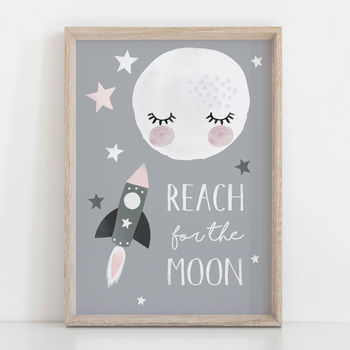 Reach For The Moon Children's Nursery Print