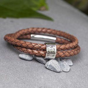 Personalised Tan Wrapped Leather Mens Bracelet - bracelets