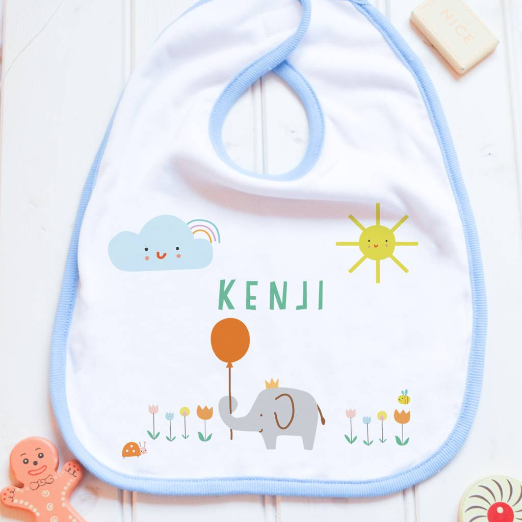 Personalised Baby Bib 'Elephant'