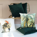 Green Velvet Cushion With Feather Pad