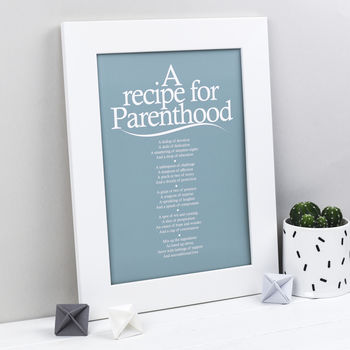 Personalised Parent Print With Parenthood Poem