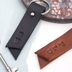 Personalised Leather Initials Keyring - housewarming gifts