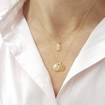 Round Gold Strap Initial Necklace
