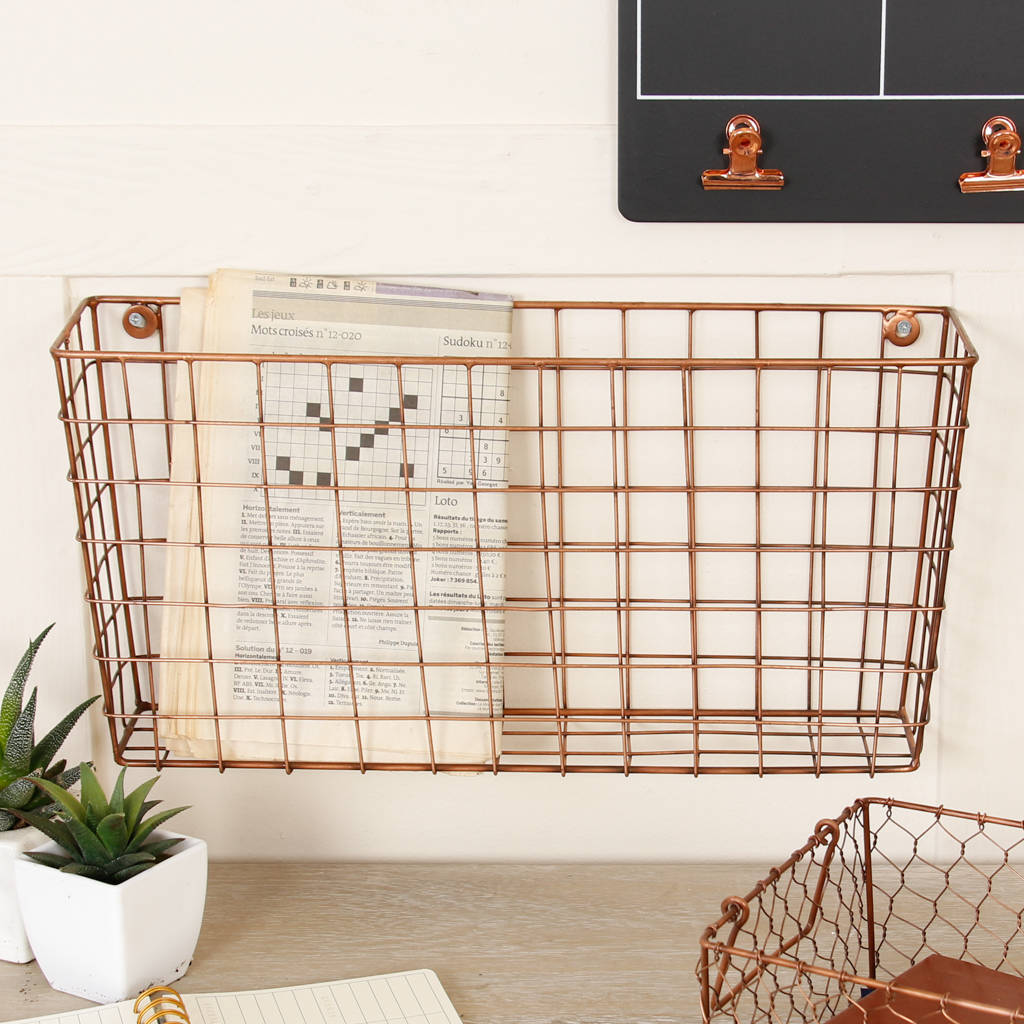 industrial copper wire wall newspaper storage basket by dibor ...