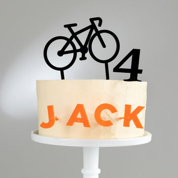 Personalised Bicycle Name Side On Cake Topper