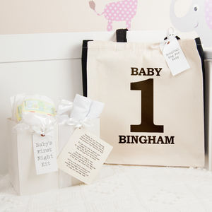 Personalised 'One' Hospital Bag And First Night Kit